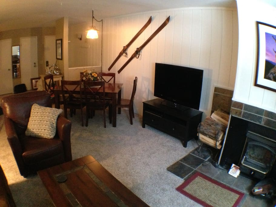 Cozy, recently renovated condo with two full baths, fireplace and garage parking.