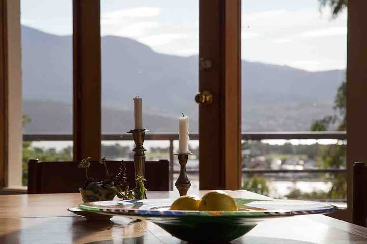 Entertaining for eight while you look out over the Derwent river and mountain landscape.