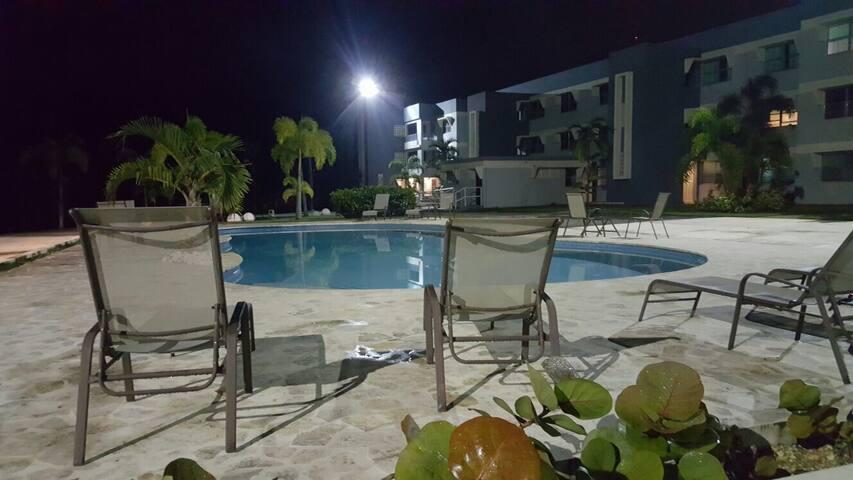 Pool View Night Time