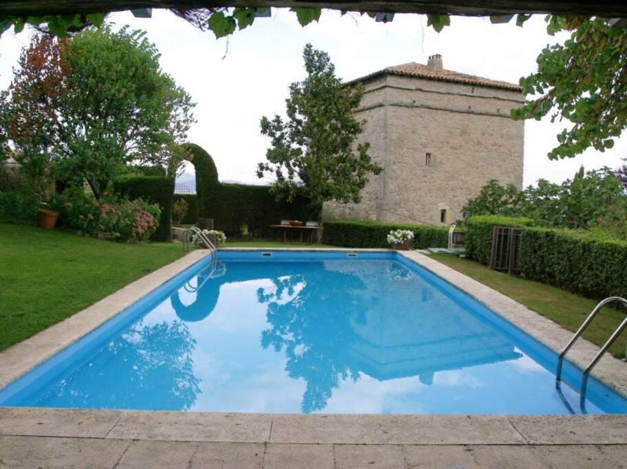 La piscina y la fachada oeste de la torre.