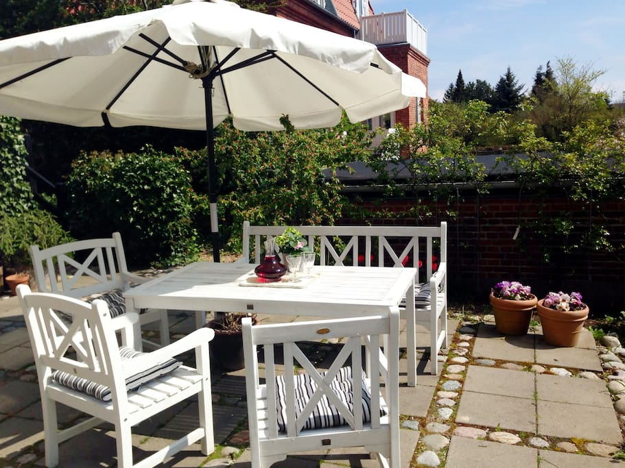Our sunny south-facing terrace with the barbeque