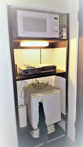 Kitchenette, microwave, cooktop, refrigerator.