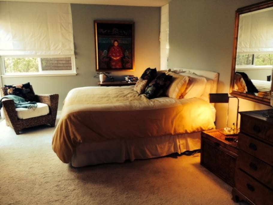 Master bedroom with King sized bed and private deck