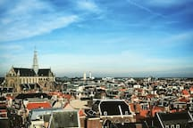 Haarlem Center and the St Bavo Church at the Grote Markt, taken at V&D (600m from the Studio)