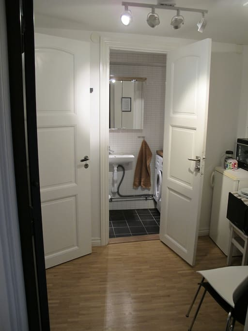 Picture from the entrence to the hall/kitchen area and toilet. Note: NO washingmashing