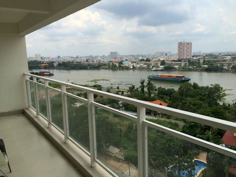 Balcony overlooking the Saigon River.