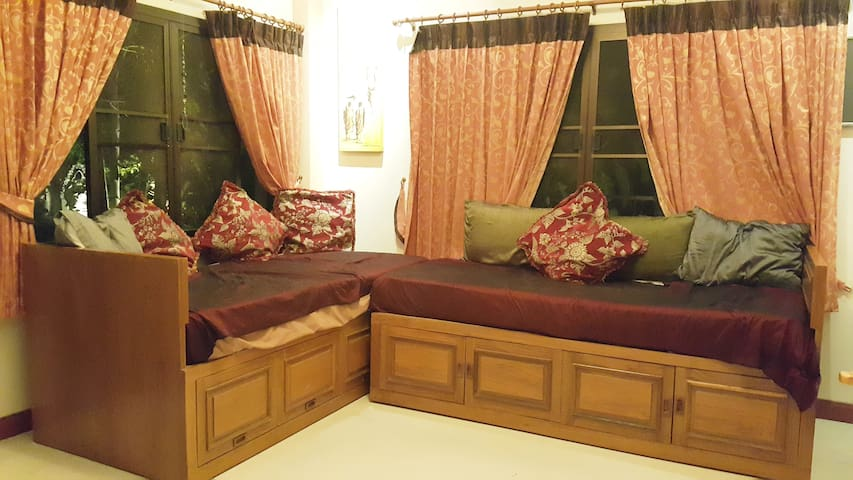 Single beds can be merged into one.