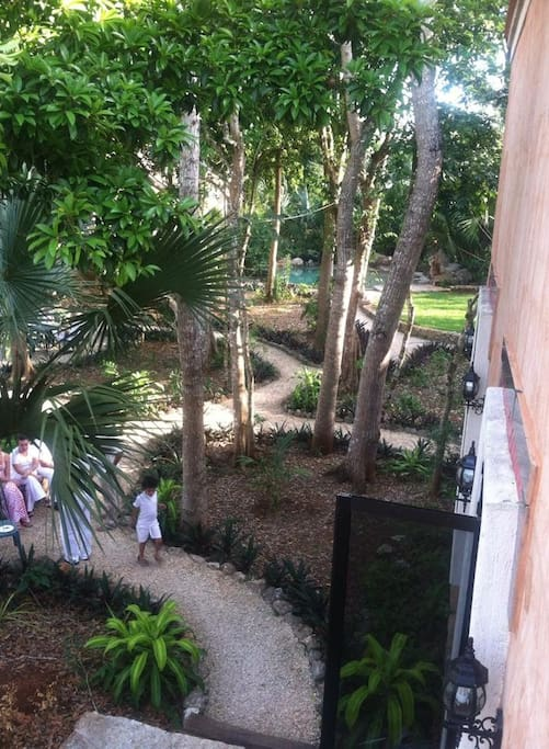 Second story view of gardens