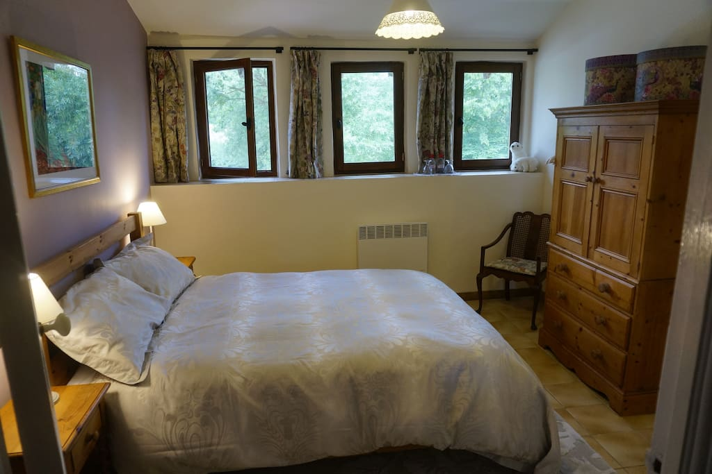 Ruisseau standard double room, can be arranged to take travel cot, available on request for children under two years.