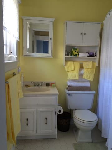 Bathroom is stocked with towels, shampoo and soap. There is a full tub and a nice shower.