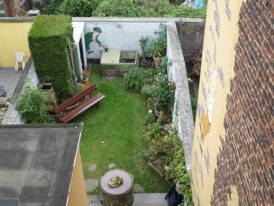 View of our little garden from the bedroom