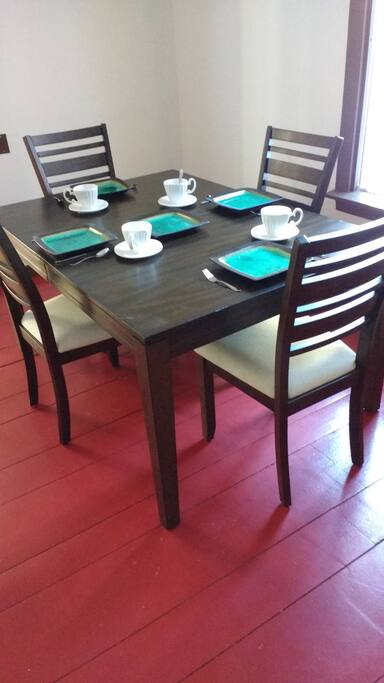 Super fancy dining room table. Take care of it please.