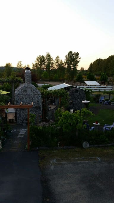 View of back yard from the bunk house