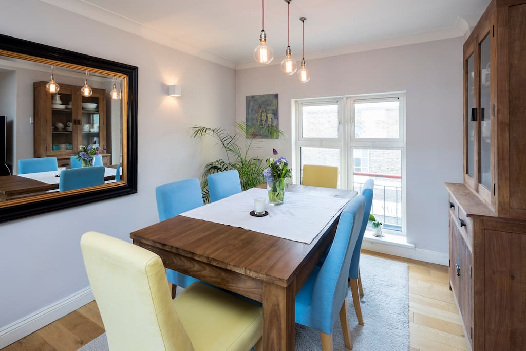 Sit around this six seater dining table