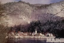 Our cozy home is nestled in this mountain valley and borders the river.