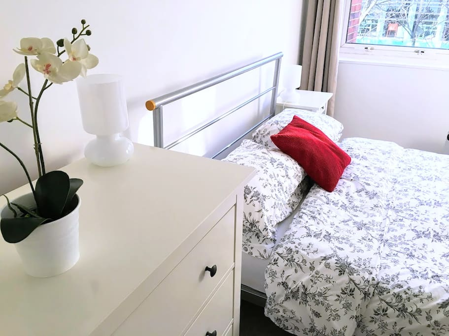 Bedroom 1: kingsize bed with fitted wardrobe and chest of drawers