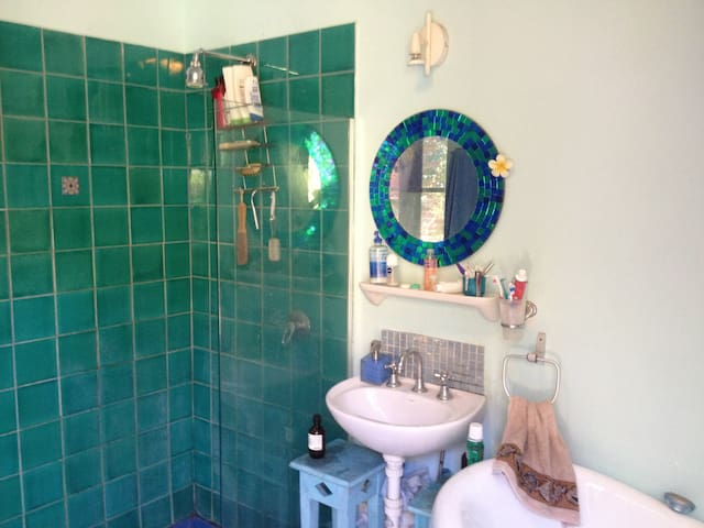 Bath room with large free-standing bath and separate shower overlooking private court yard