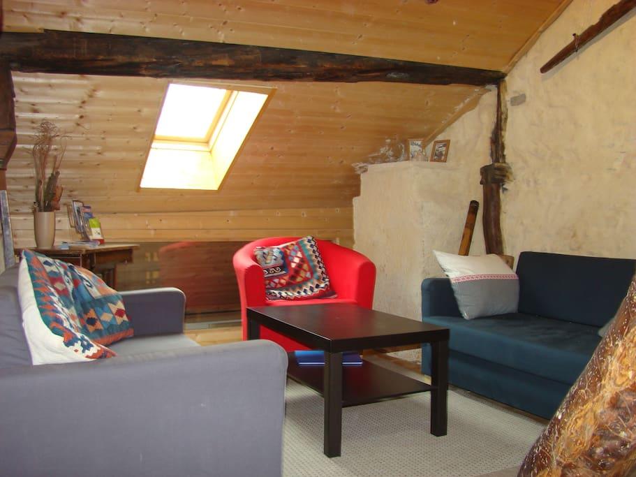 living room on 2 levels