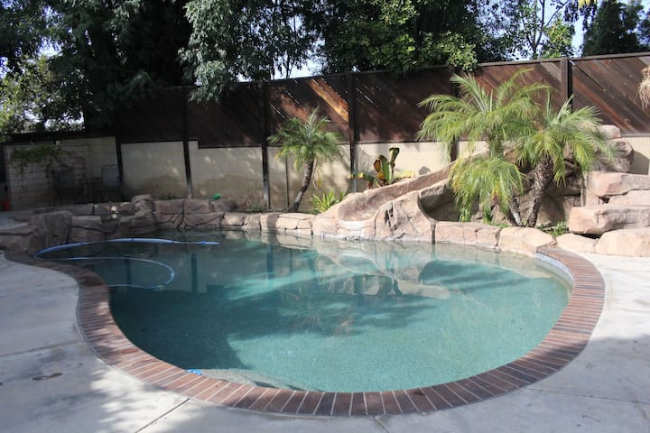 Large private pool. gated with a rock slide and spa.