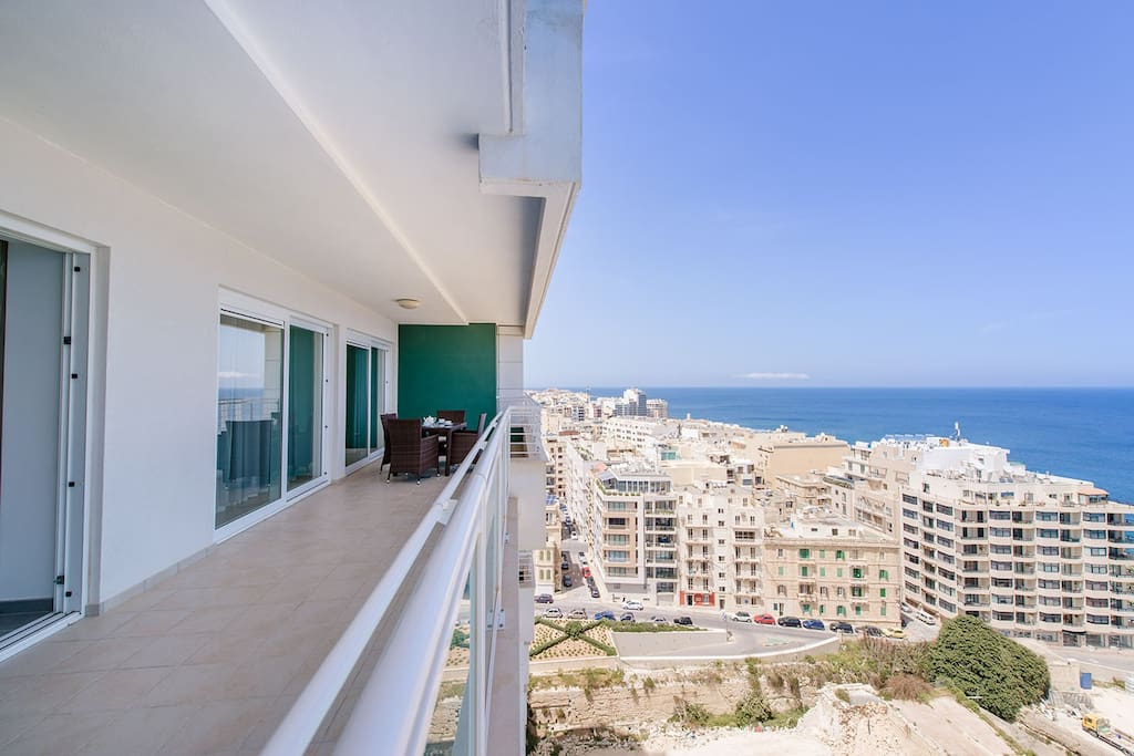 Huge terrace overlooking the open sea and the famous Sliema Promenade.