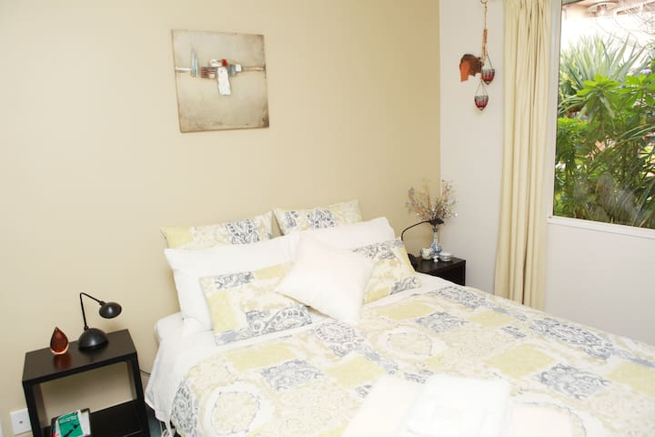 Bedroom 2 also Queen bed with feather duvet and electric blanket