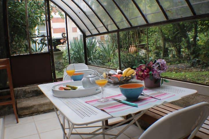 déjeuner dans le jardin