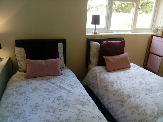 The king-sized bed turned into two small single beds