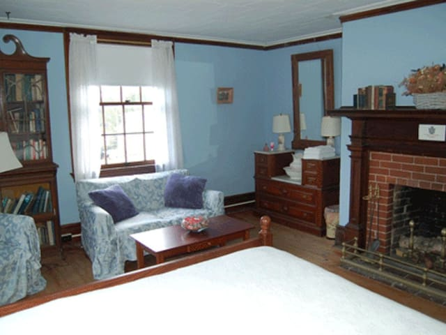 Blue Room with queen size bed, antique dresser and bookcase