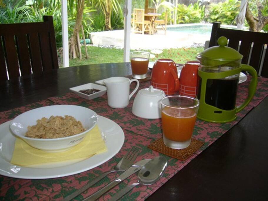 Enjoy breakfast overlooking the garden