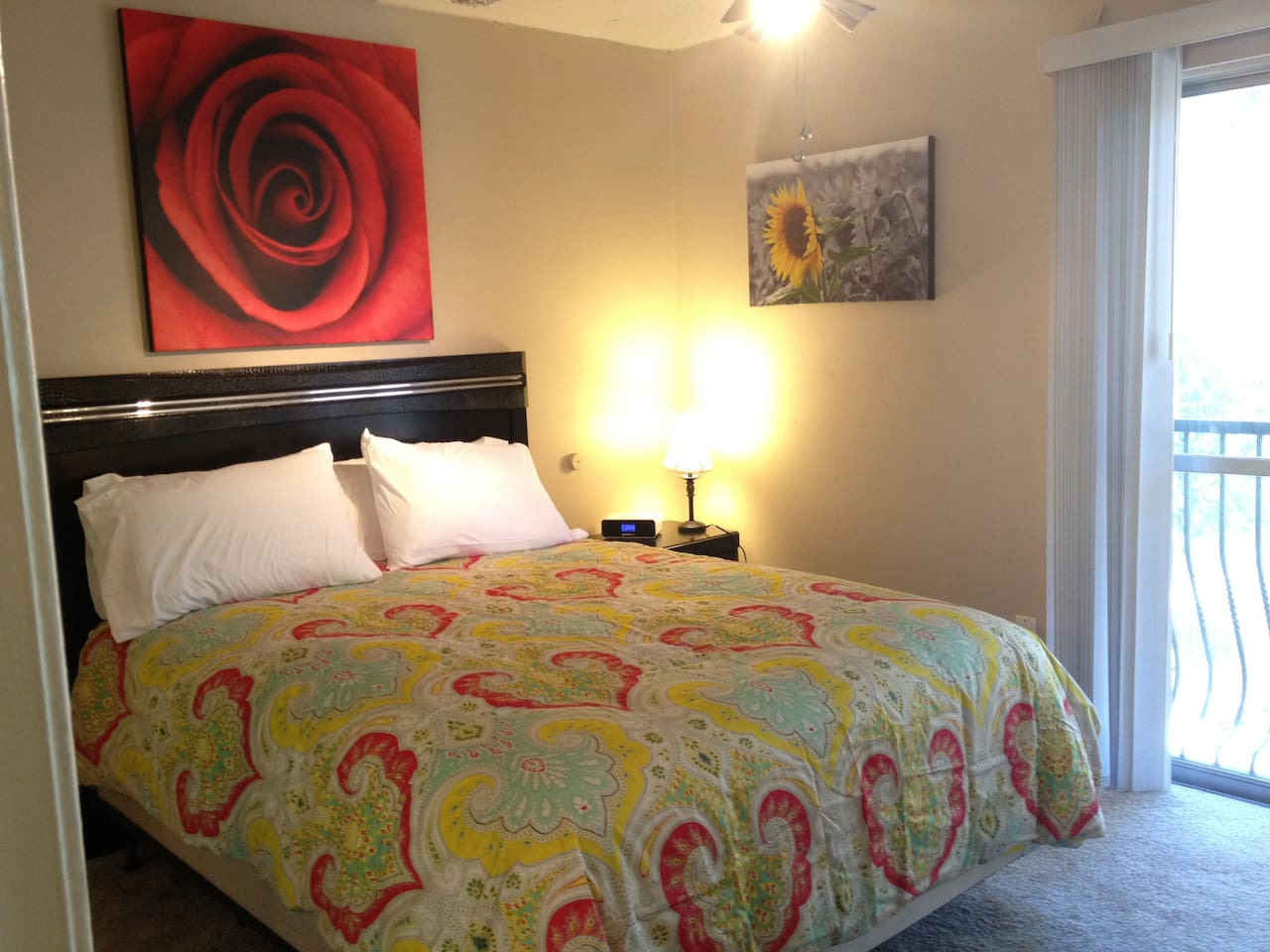 Comfortable queen bed in the bedroom and extra queen air mattress provided.