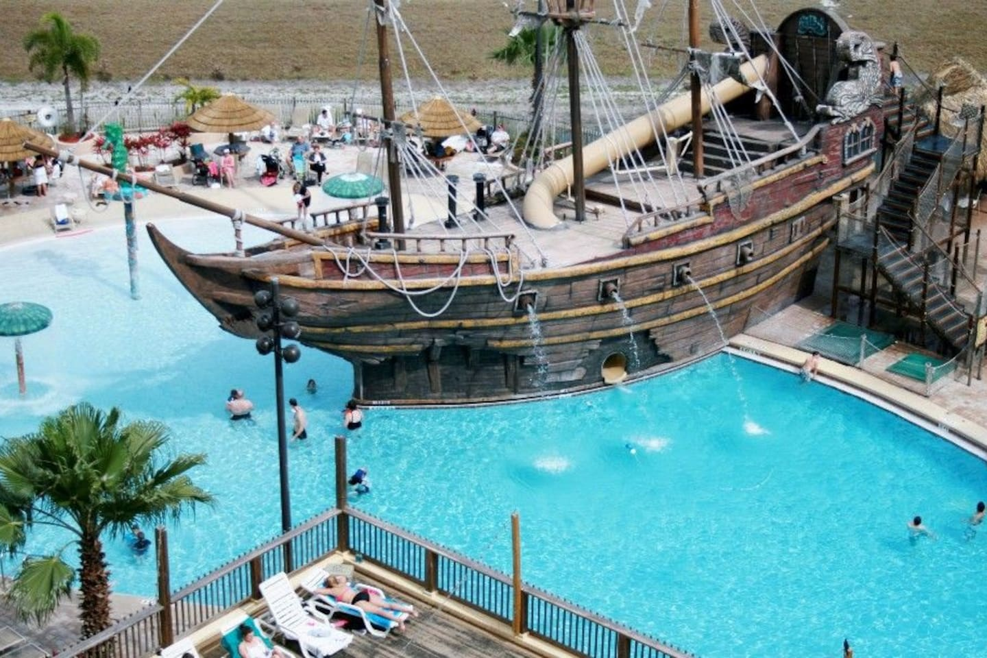 Take a plunge from the pirate ship, relax by the pool, or have a dip in the spa.
