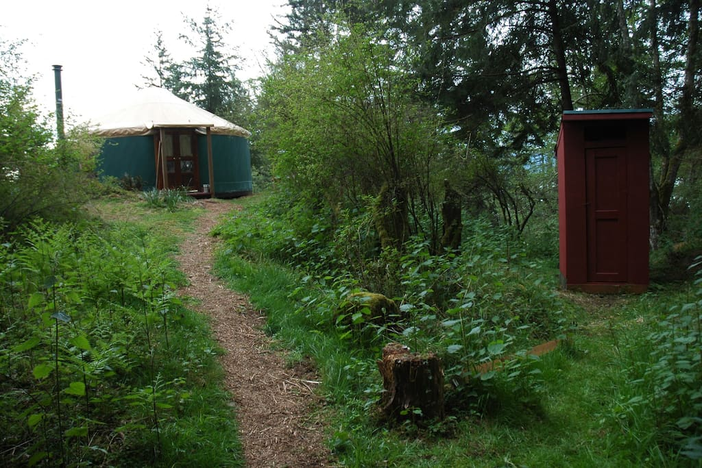 Approaching yurt with outhouse to right