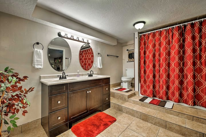 The spacious master bathroom boasts a dual-sink vanity.