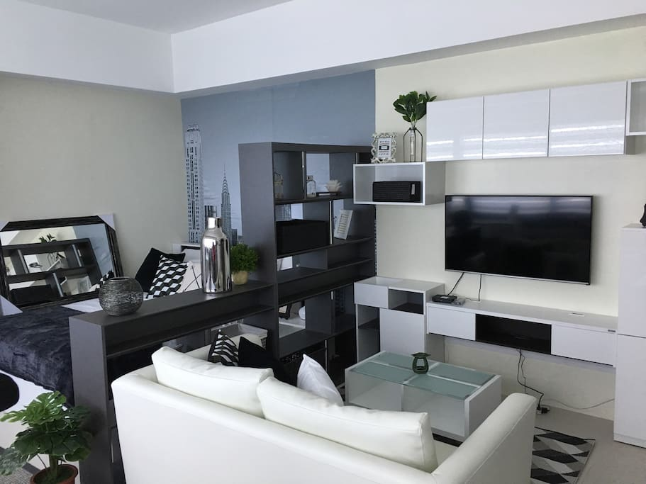 A comfy living room where you can enjoy watching TV
