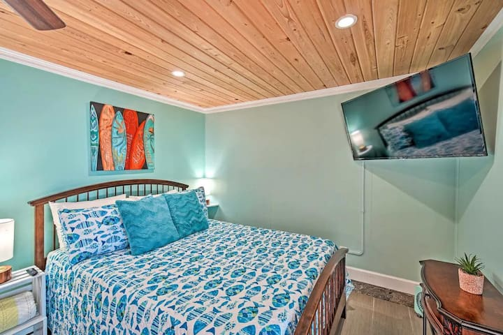 Located so you can really lay back and relax to watch a program or movie together, on the wall mounted smart TV.  The WiFi supplied will allow you to catch Netflix, hulu, Roku, Pluto or so many other smart tv apps.  No cable service is provided.
