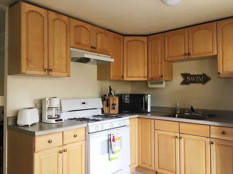 Our kitchens are fully stocked with microwave, toaster, coffee maker, dinnerware for 8, pots and pans etc. everything you need to make a great meal after a day on the lake.