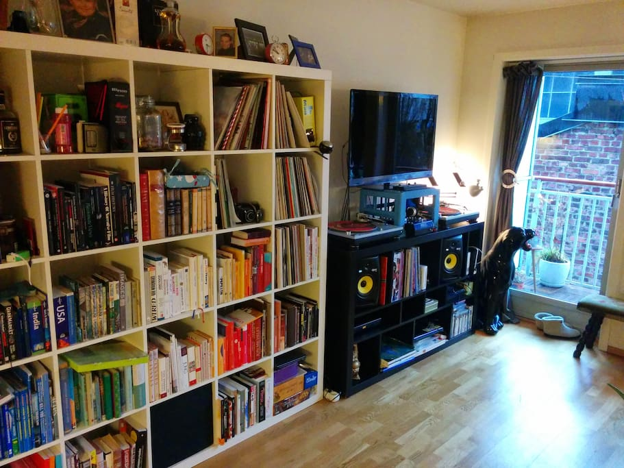 TV, speakers and book shelf