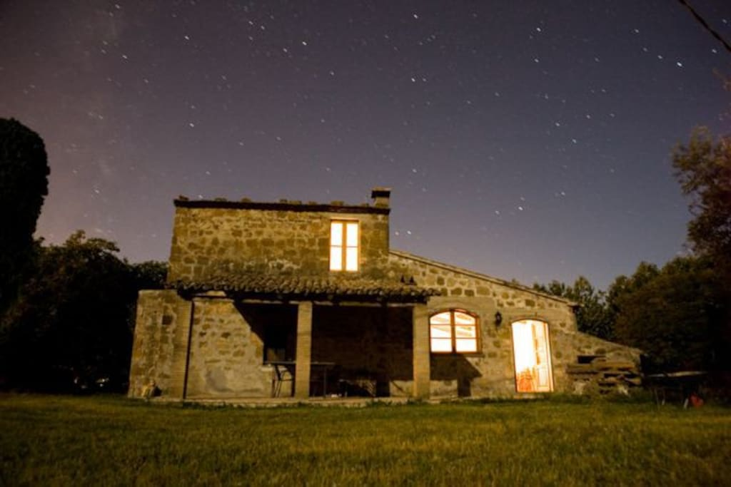 The house at night.