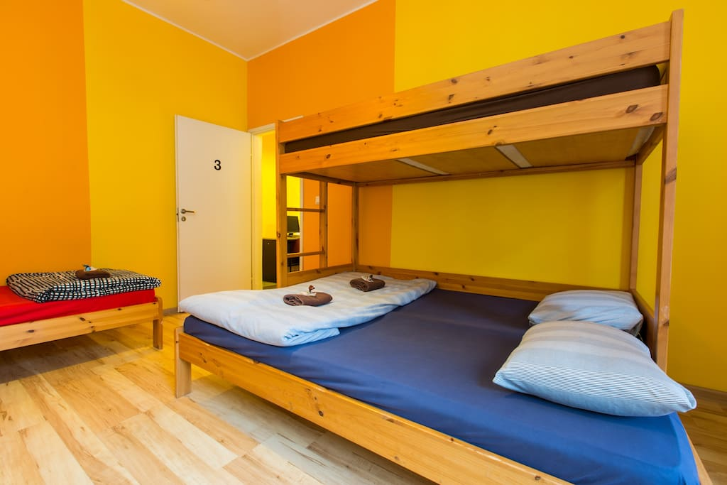 The rooms consists of a double bed bunk and 2 single beds