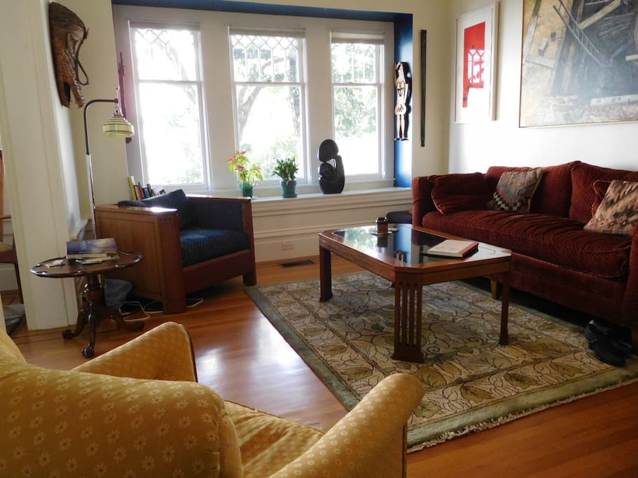 Living Room, deco rug, Stickley furniture