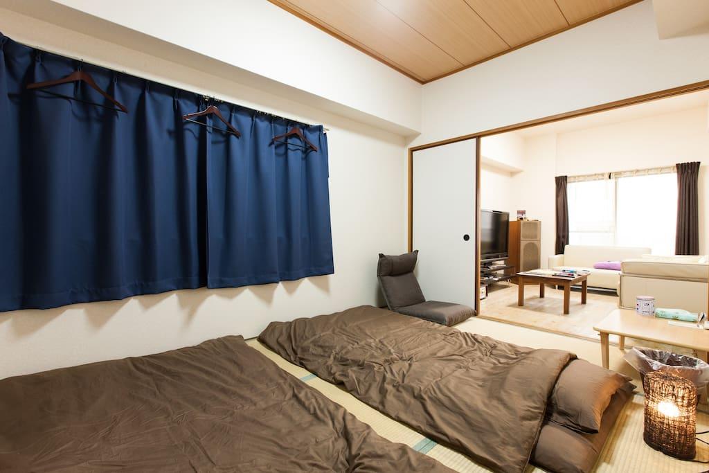 no cleaning fee private tatami bed room awaza appartements louer saka saka fu japon. Black Bedroom Furniture Sets. Home Design Ideas