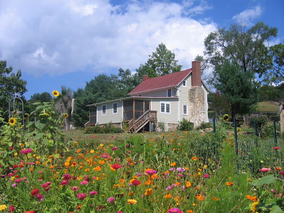 Prolific gardens grace the property