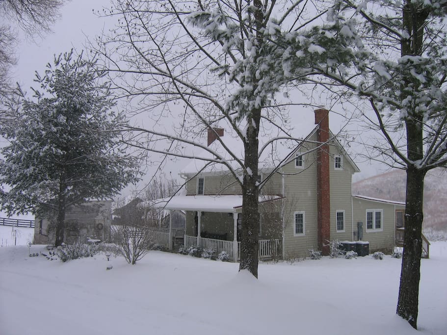 The farm is beautiful in the winter