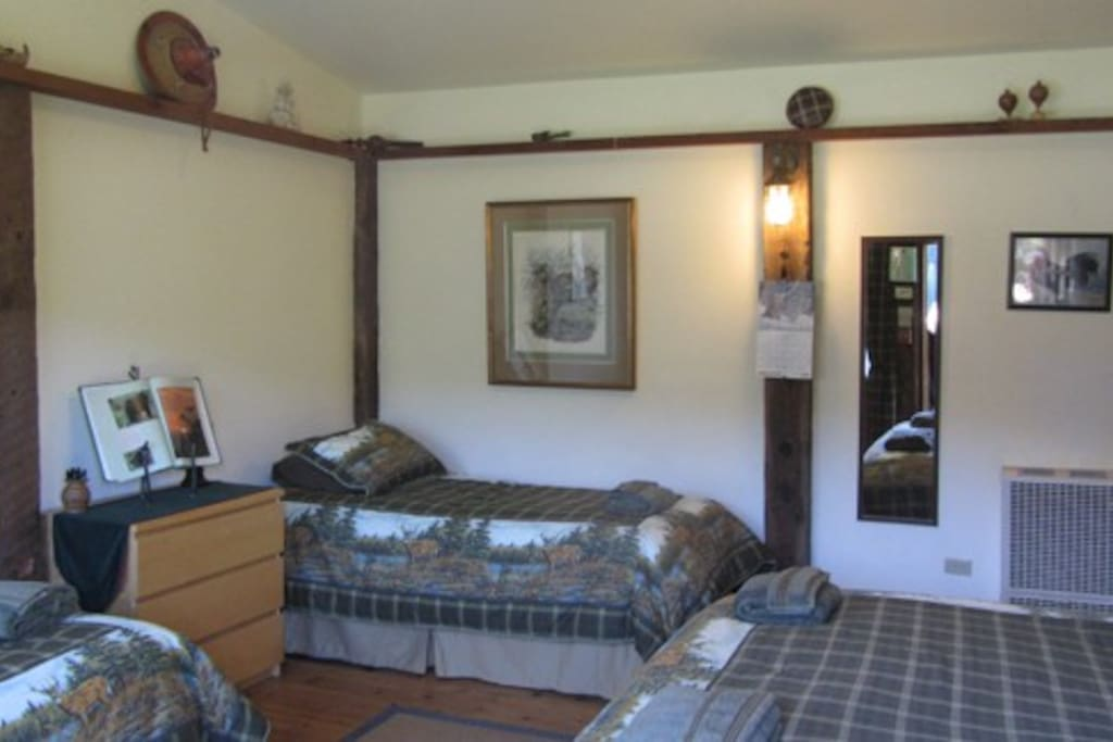 Our pet friendly room is located in the Annex close to the Lodge and has it's own private bathroom.