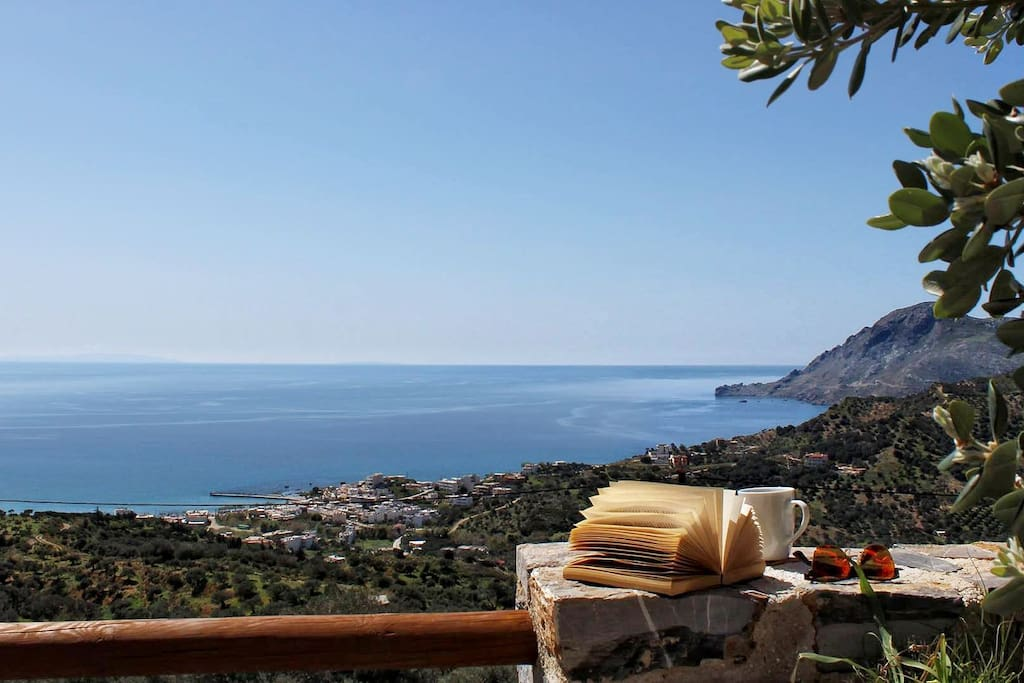 Panoramic view of Plakias bay from the private garden terrace.