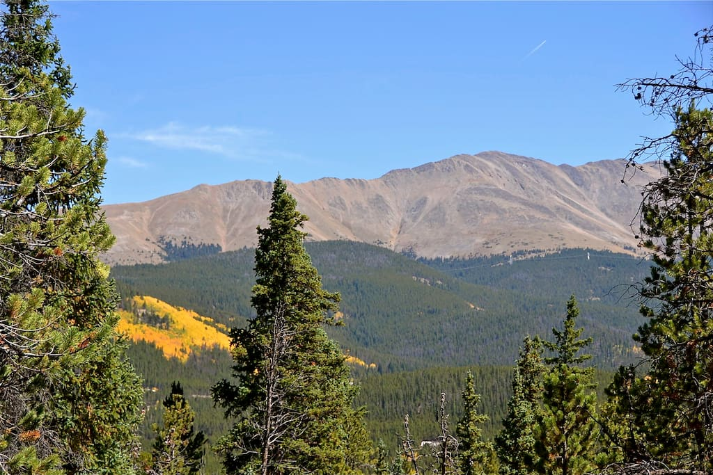Mt Baldy from porch, Boreas pass road up high across the valley.