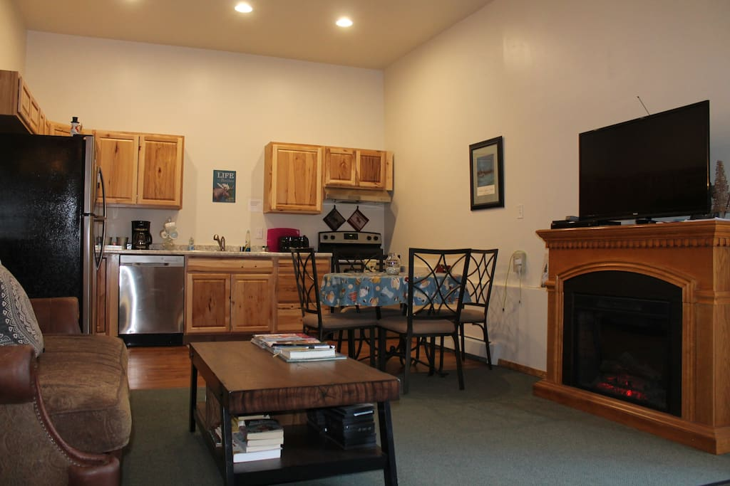 Common Area, Flat screen TV with Amazon tv and Direct TV now, DVD's