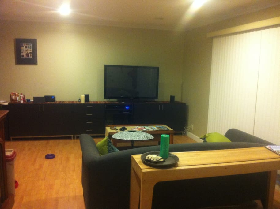 "55"" flat screen with AppleTV, PlayStation and Neflix"
