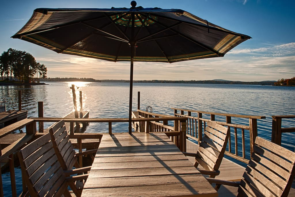 Enjoy gorgeous Lake Norman views from the deck.