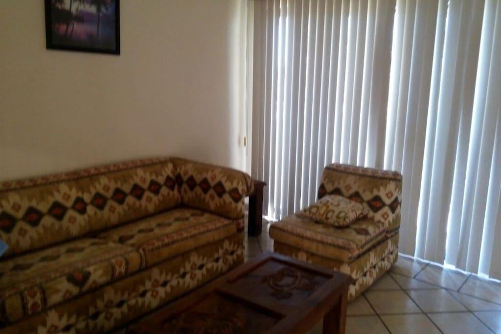 Sala de apartamento con sofá cama.